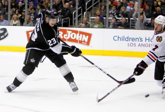 "Dustin Brown scores a ""Hat Trick"" in 4-0 rout of the Blackhawks...."