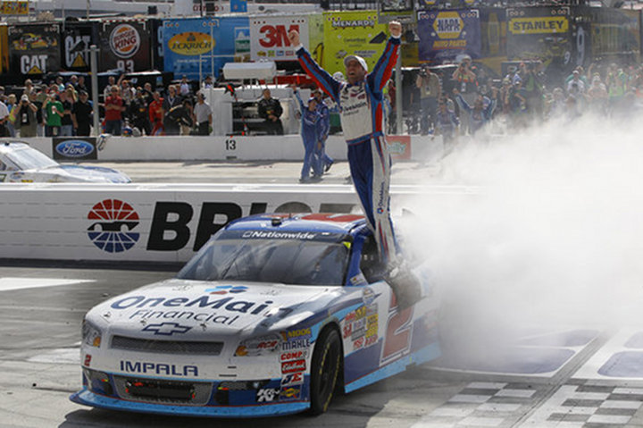 Elliot Sadler Wins the Nationwide Series at Bristol Motor Speedway, For His Second Victory of the Season....