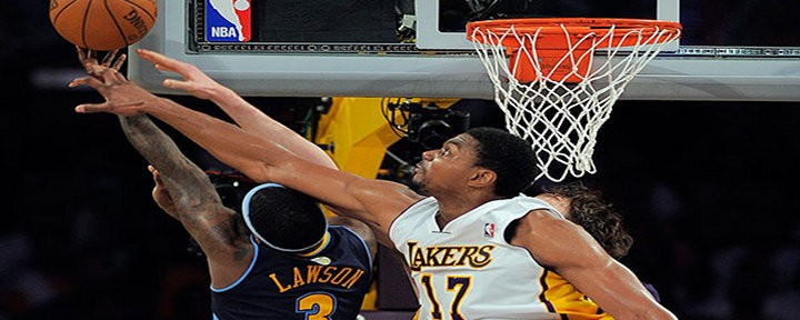 Andrew Bynum's Historic 10-Block Triple-Double Leads Lakers to a 103-88 Victory Over the Nuggets - LA Leads Series 1-0