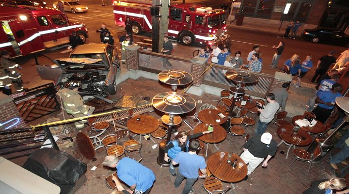 It Continues.... Car Crashes into Patio Wall of a Kentucky Bar!