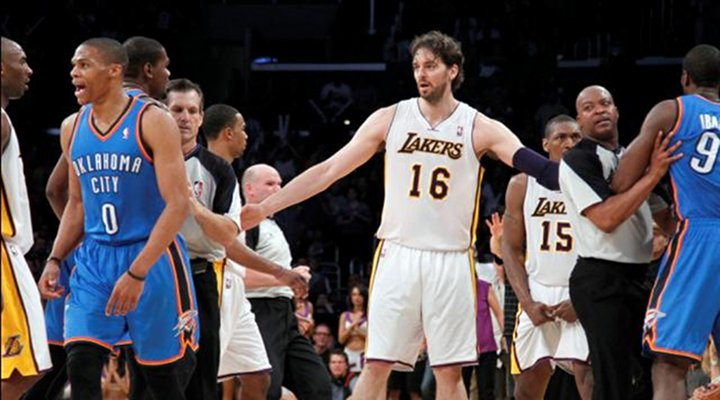 Lakers Rally For 2OT Win Over Thunder After Metta World Peace is Ejected for Vicious Elbow....