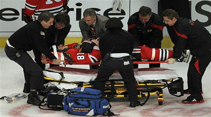 Video: Marian Hossa Taken Off the Ice On a Stretcher Following Hit By Raffi Torres
