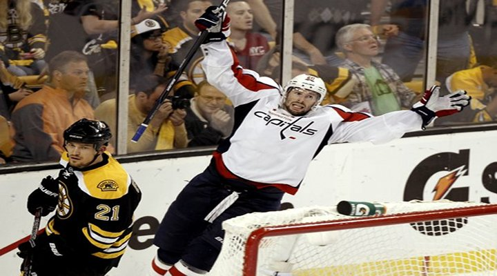 Capitals Troy Brouwer Scores with 1:27 Left in the Game to Beat the Bruins 4-3 in Boston - Washington Leads Series 3-2