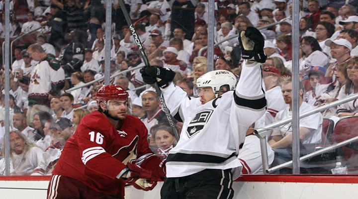 Dwight King Nets 2 Goals as Los Angeles Takes Game 1 From the Coyotes 4-2 in Phoenix...