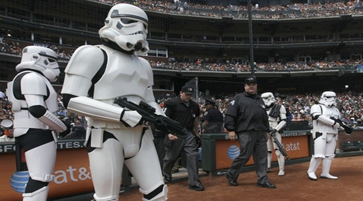 Umpire Bill Miller Was Escorted To The Field By Storm Troopers!