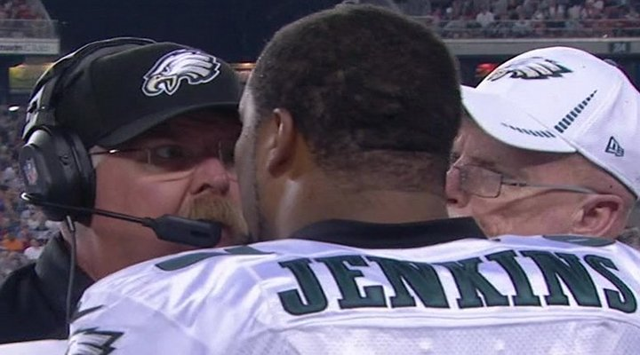 Video: Eagles Coach Andy Reid and Cullen Jenkins Had to be Separated on the Sidelines