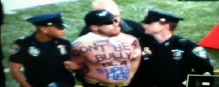 "Video: Super Hero Streaker at Ravens vs Patriots Game; Has ""Don't Be A Bully, Be A Super Hero"" on Chest!"