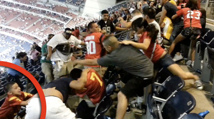 Video: Houston Texans Game Featured Fight With Idiots Swinging at People in Row Above Them