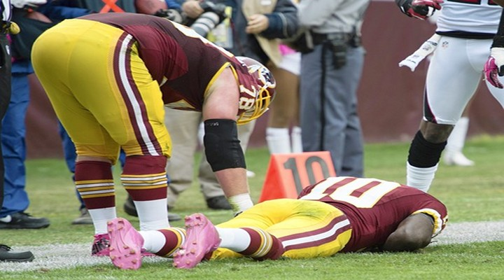 Redskins Send RG3 Deep Down the Field for Pass; Nearly Knocked Out Again [Video]