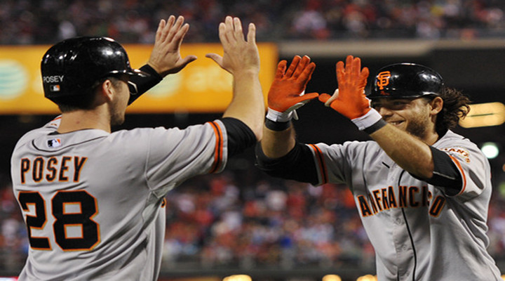 Giants Buster Posey Hits a Grand Slam to Put San Francisco Up 6-0 Over the Reds in Game 5