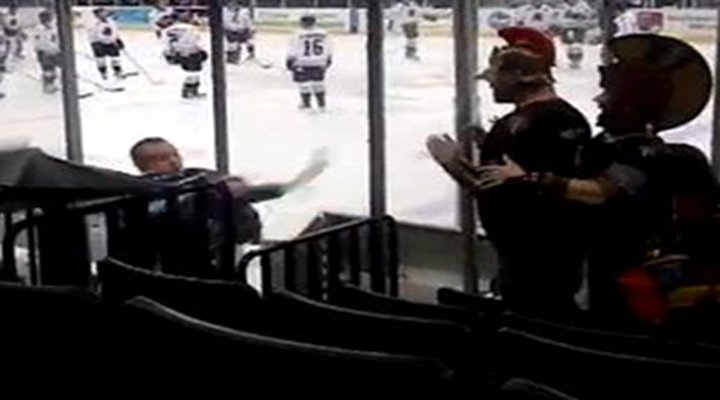 Minor League Hockey Goalie Fined For Throwing Water & Gatorade at Fans Dressed as Gladiators [Video]