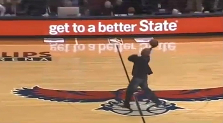 Basketball Lands on the Back of the Rim When Fan Shoots Half-Court Shot For Money [Video]