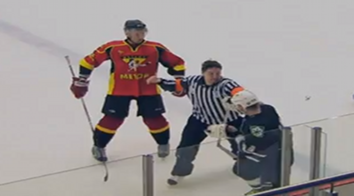 Russian Hockey Referee Gets Bumped by Player, Then Takes Off Helmet & Fights the Player [Video]