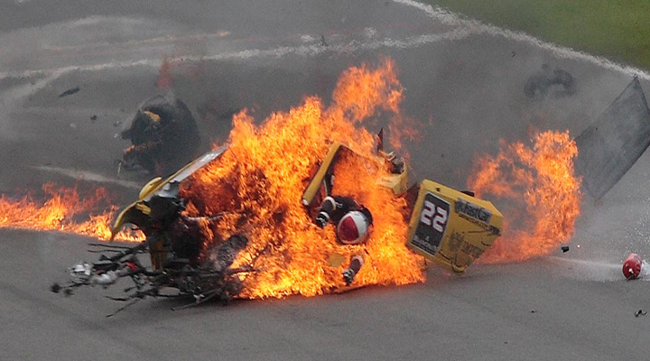Incredible Video of Lamborghini Race Car Driver Almost Burned Alive During European Race