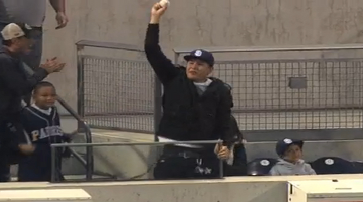 Padres Fan Makes a Great Diving Catch on Yuniesky Betancourt Home Run [Video]