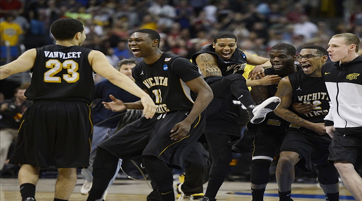 Kevin Ware Cheers On His Teammates From the Bench & Wichita State Leads Louisville at Halftime [Video]
