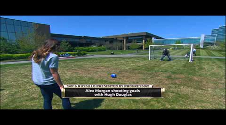 Alex Morgan Kicked Soccer Balls at Hugh Douglas on the ESPN Campus [Video]