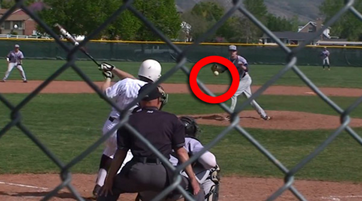 High School Pitcher Catches Line Drive Right in Front of His Face [Video]