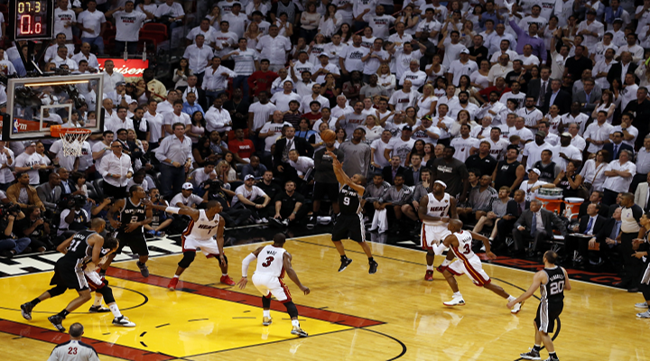 Tony Parker Falls Down Then Beats the Shot Clock Buzzer to Upset Heat in Game 1 of the NBA Finals