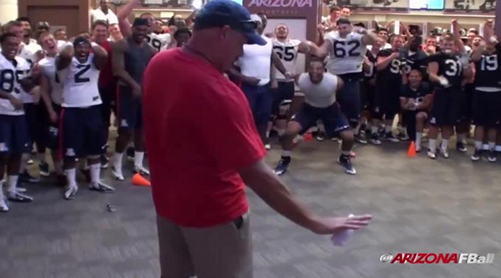Arizona Head Coach Rich Rodriguez Shows off His Moves in the Team's Dance-Off [Video]