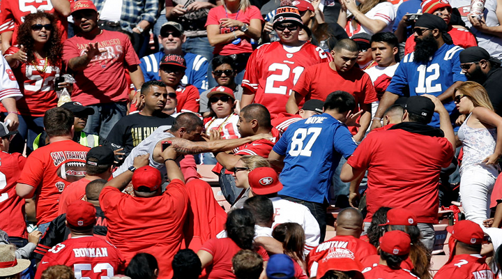 49ers – Colts Fans Fight: Guys Tumbling Over Seats & Man Attempts Karate Kick on Female Fan