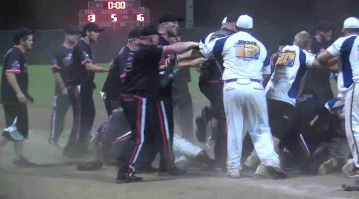 Softball Fight: Men's Slowpitch Game turns Into Epic Bench-Clearing Shoving Match & Dog Piles [Video]