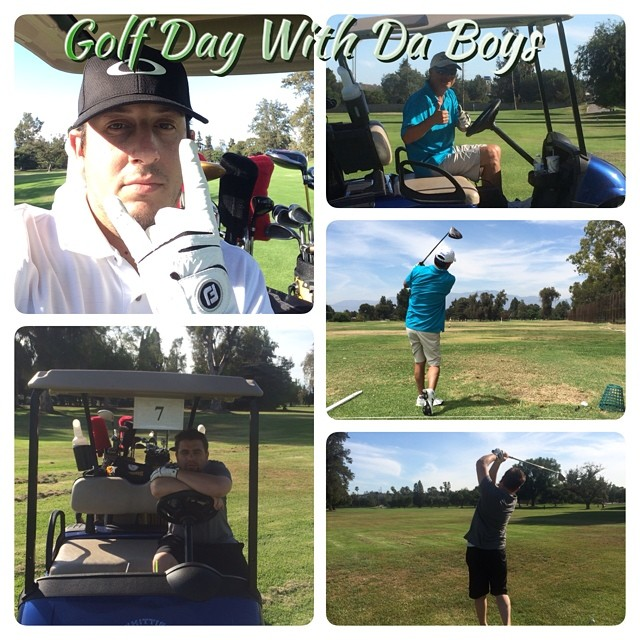 Golf Day with Da Boys @johnnyicebox and @BudKnocker, getting ready for the @sportscast Golf Tournament. ⛳️☀️? #GoodTimes #Links