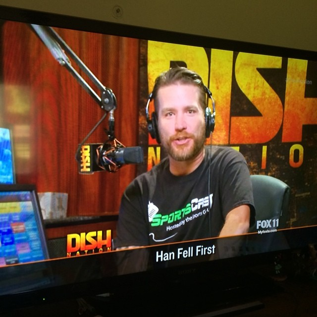 HUGE S/O to @frankarmy of the @heidiandfrank show for sporting the #SportsCast T-Shirt on Dish Nation tonight! Love ya brotha! #Fox11