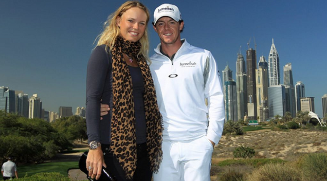 Rory McIlroy of Northern Ireland with his girlfriend Caroline Wozniacki