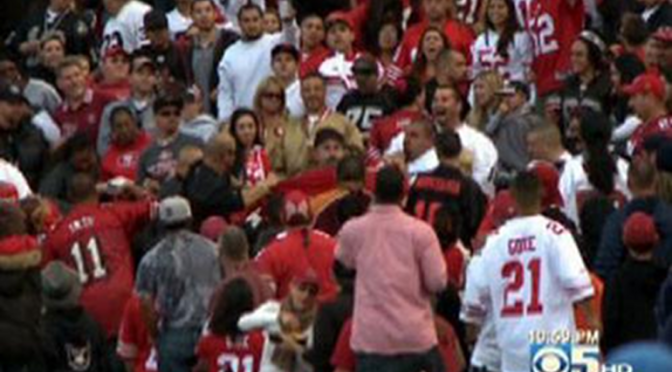 Cardinals Fans and 49ers Fans Brawled, Fell Down the Stairs, Threw More Punches [Video]
