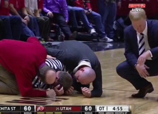 Referee Knocked Out During Jump Ball For Second Time This Week [Video]