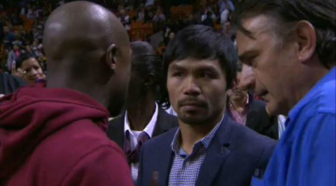Floyd Mayweather and Manny Pacquaio Met at Halftime of Heat Game [UPDATE: Both Met in Hotel Room After the Game]