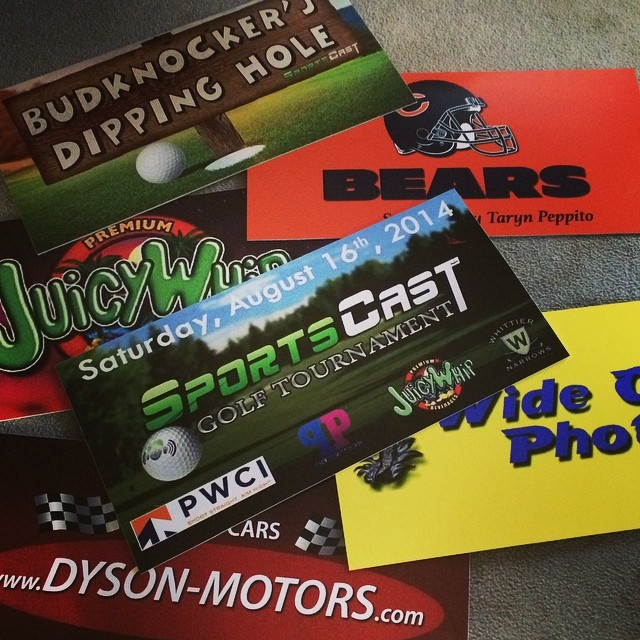 Just Got Some of the Tee Signs in for the #SportsCast Golf Tournament this Saturday w/ Special Guest Host @TheMarkLong & @TouchEmUp! Thanks to All Our Sponsors! @DysonMotors @JuicyWhip #PWCI @PocketProtein @FiremansBrew @Peppy_Pants @The___Colonel @Juicehl @Tokra_Samni